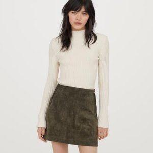 NWT H&M Premium Genuine Suede Olive Mini Skirt